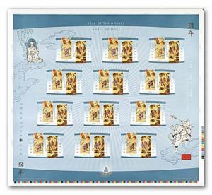 MONKEY KING = Zodiac Lunar New Year = UNCUT press sheet Canada 2004 #2016ii MNH