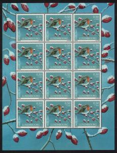 Luxembourg Robin Bird Christmas 1v Sheetlet of 12 stamps SG#1791