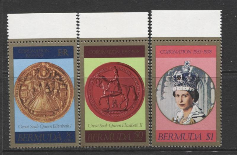 Bermuda - Scott 360-62 -Coronation 25th Anniv Issue -1978 -MNH - Set of 3 Stamps