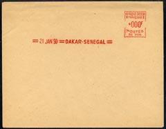 Senegal 1950 proof of meter franking on large piece value...