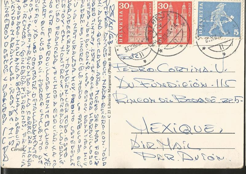 J) 1963 SWITZERLAND, POSTCARD, ZURICH, MULTIPLE STAMPS, AIRMAIL, FROM SWITZERLAN