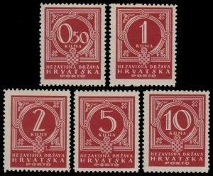 ✔️ CROATIA 1941 - POSTAGE DUE - PERF L11 - SC. J6/J10 ** MNH OG [CRP006]