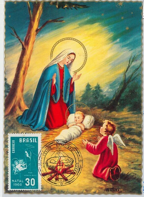 59090  -  BRAZIL - POSTAL HISTORY: MAXIMUM CARD 1965  -  RELIGION  Madonna