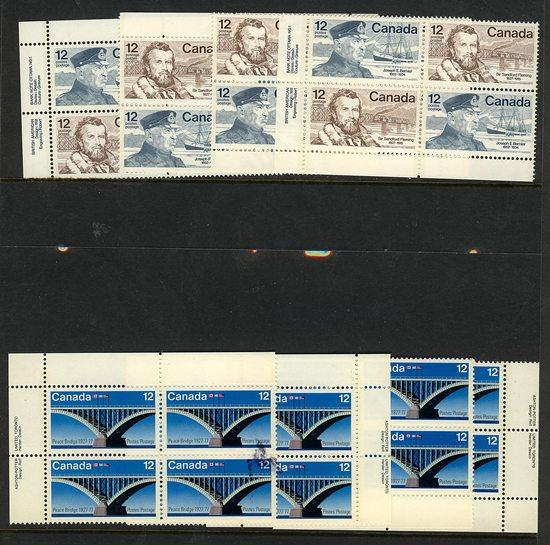 Canada USC #737-739a Mint MS of Plate or IB's VF-NH Cat. $12. Peace Bridge & CDN