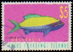 Cocos Islands #329, Single Incomplete Set, 1998, Fish, Used