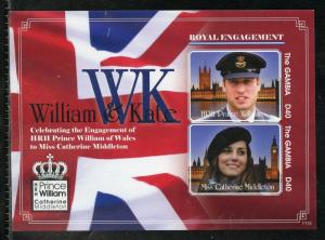 GAMBIA ENGAGEMENT OF PRINCE WILLIAM & KATE MIDDLETON  IMPERF S/SHT II   MINT NH