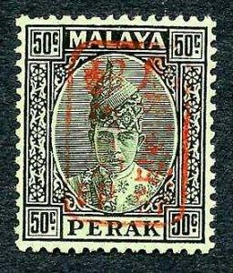 Jap Occ of Malaya SGJ202a Perak 50c with red opt U/M