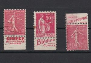 france early advertising attached labels used stamps ref r13163