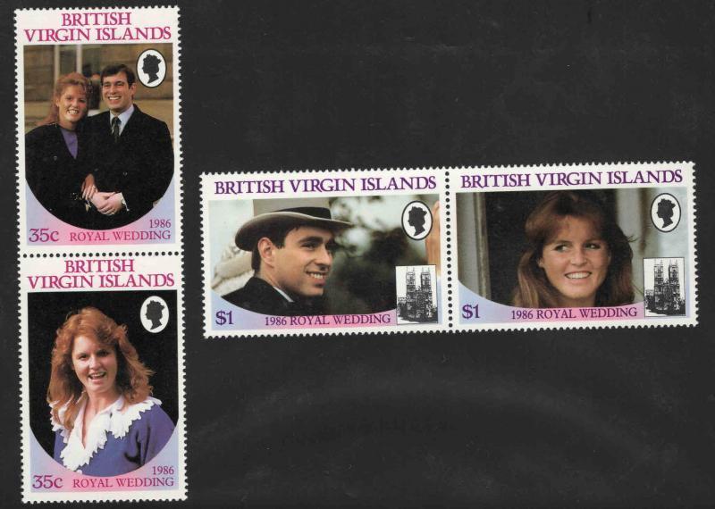 British Virgin Islands Scott 537-540 MNH** stamp pairs Royal wedding set