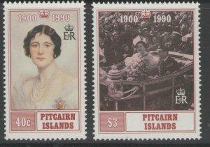 PITCAIRN ISLANDS SG378/9 1990 QUEEN MOTHER MNH