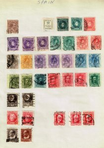 SPAIN STAMP USED STAMPS ON PAGE COLLECTION LOT  #1