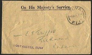 FIJI 1942 local OHMS cover Suva cds and POSTMASTER SUVA handstamp..........93665