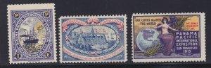 US Vintage 3 Panama Pacific International Exposition Cinderella Stamps L108