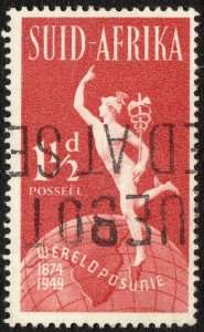 1949 South Africa Sg 129 1½d brown-red with Paquebot Cancellation
