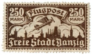 (I.B) Germany Local Post : Danzig Air Mail 250M