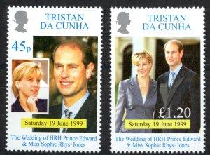 Tristan Da Cunha Sc# 636-637 MNH 1999 Prince Edward & Sophie Wedding