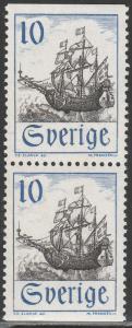 SWEDEN 757, 10o SAIL SHIP, VERTICAL PAIR. MINT, NH. F-VF. (530)