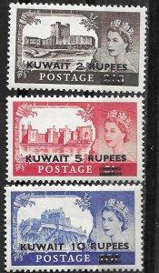 Kuwait # 117-19  Elizabeth II & Castles  1955 (3)  VF Unused  VLH