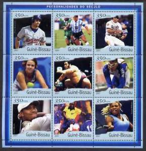 Guinea-Bissau MNH S/S Sports Stars 2001 9 Stamps