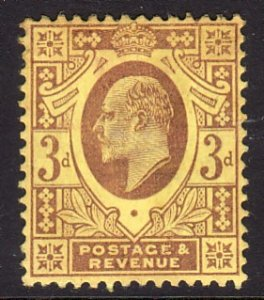 1902 - 1911 Great Britain KEVII MLMH with remnant 3p Sc# 132 CV $45.00