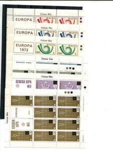 Malta 1973-1976  Europa mini sheets   Mint VF NH
