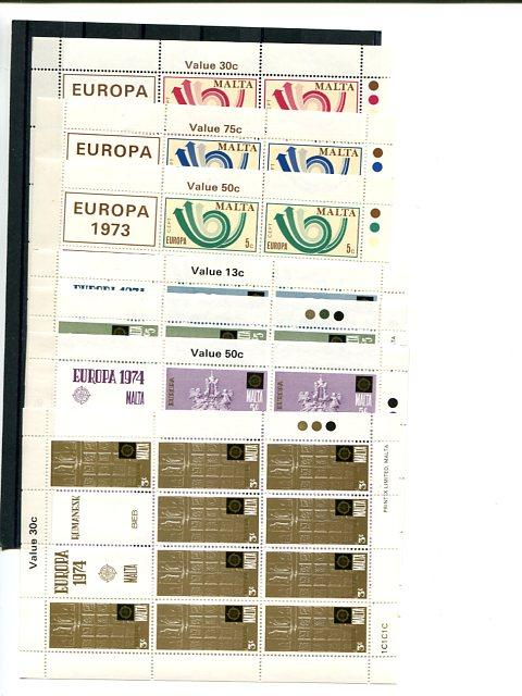 Malta 1973-1976  Europa mini sheets   Mint VF NH