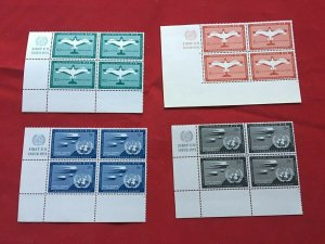 United Nations Stamps Scott C1-C4 plate block of 4 MNH, great  new condition