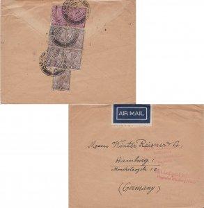 India 2a (2) and 1a (5) KGV 1930 Karachi Stg. Airmail to Hamburg, Germany wit...