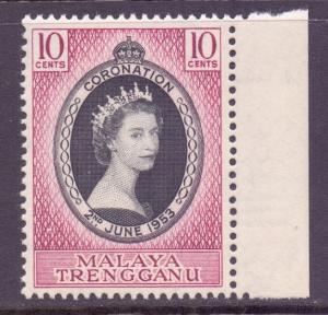 Malaya Trengganu Scott 74 - SG88, 1953 Coronation 10c MH*