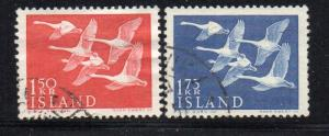 Iceland Sc 298-99 1956 Swans Northern Countries stamp set used