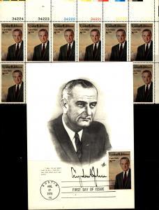 US 1973 L B J Top Part Sheet 6 Prs Stamps with 6 P# Scott 1503 MNH & FD Card
