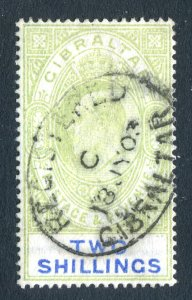 Gibraltar 1903 KEVII. 2s green & blue. Used. Crown CA. SG52.