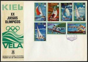 C20 Equatorial Guinea Oversized FDC 1972 Summer Olympics Sailing Kiel set of 7