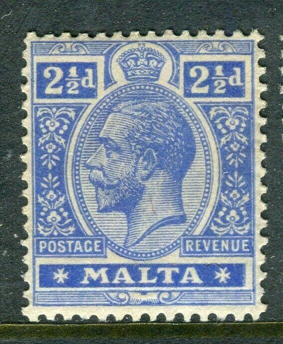 MALTA; 1914-21 early GV issue fine Mint hinged shade of 2.5d. value