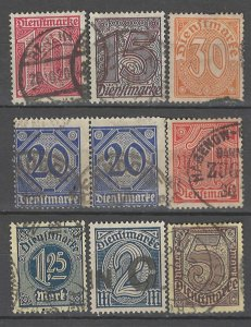 COLLECTION LOT # 4293 GERMANY OFFICIAL 9 STAMPS 1920 CV+$21