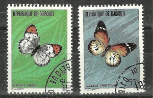 DJIBOUTI 1980 BUTTERFLIES  #511-512 Used WYSIWYG Lot