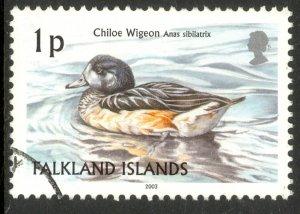FALKLAND ISLANDS 2003 1p Chiloe Widgeon Duck Birds Issue Sc 830 VFU