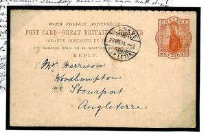 O32 GB REPLY CARD USED ABROAD Posted *Geneva* Switzerland 1894 Cover