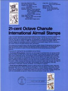 US SP465 Octave Chanute C94a Souvenir Page FDC
