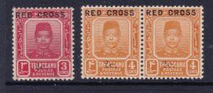 Trengganu the 2c on 3c & 4c  Red Cross see description