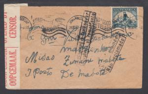 South Africa Sc 51a on 1940 CENSORED cover to LOURENÇO MARQUES