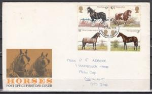 Great Britain, Scott cat. 839-842. British Horses issue. First Day Cover.