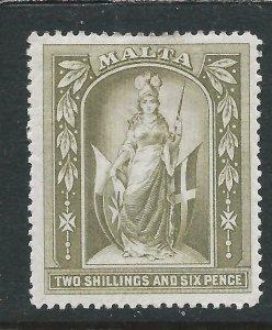 MALTA 1899-1901 2s6d OLIVE-GREY MM SG 34 CAT £45