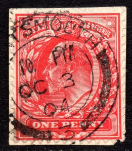 1902 Sg 219 1d with Red Dot to right of Value Tablet Portsmouth Cancellation