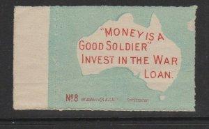 Australia War Loan Money is Good Soldier Promotion Poster Stamp MNH OG