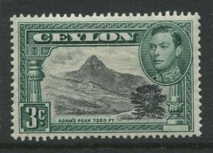 Ceylon -Scott 279c - KGVI Definitive Issue - 1938 - MVLH - Single 3c Stamp
