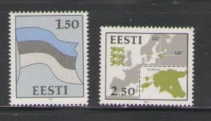 Estonia Sc 209-10 1991 Map & Flag stamp set mint NH