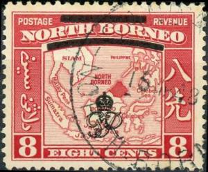 North Borneo #228 8c Map - block out overprint Used/H