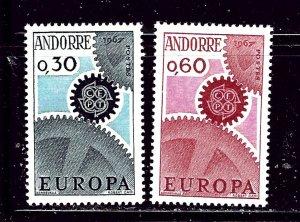 French Andorra 174-75 MVLH 1967 Europa