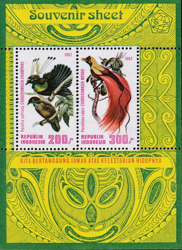 Indonesia 1982 Red Birds of Paradise Souvenir Sheet  VF/NH